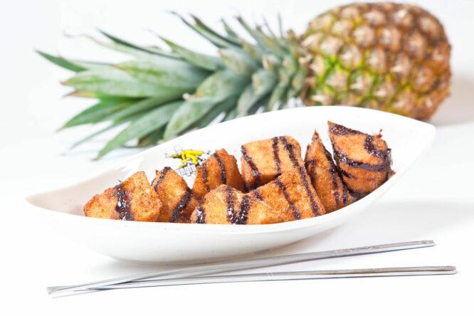 Ananas prăjit – Desert - Restaurantul cu specific chinezesc, KungFu King, cu livrare la domiciliu vă oferă cea mai bună mâncare chinezească din Bucureşti, fapt confirmat de clienţii noştri. Acum puteţi face comanda online şi vă puteţi, astfel, bucura de ofertele speciale oferite de restaurantul chinezesc KungFu King din Bucureşti. Vă invităm să încercaţi un desert absolut delicios marca KungFu-King.