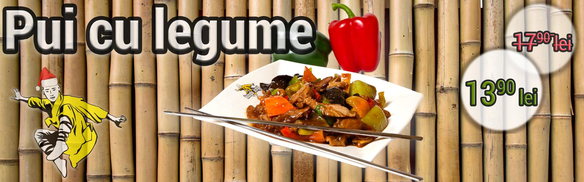 În fiecare zi de marţi - Pui cu legume - Preparate de pui - restaurant chinezesc KungFu King - de la 17.90 lei la doar 13.90 lei. Alege traditia, savoarea si calitatea restaurantului chinezesc KungFu King din Bucuresti!Comanda mancare chinezeasca online pentru a putea beneficia de ofertele speciale si vei primi serviciul de livrare mancare chinezeasca in mod gratuit!