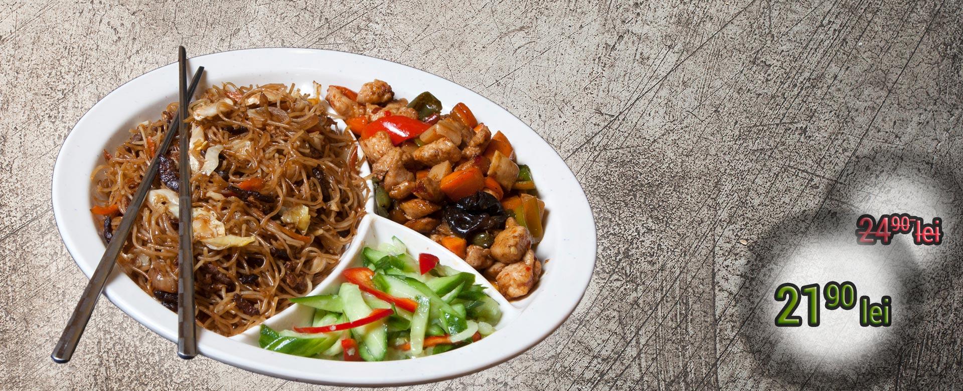 Meniul Smart este alegerea perfectă pentru o masă deliciosă, marca KungFu King, ce conţine un fel principal, o garnitură, o salată şi o băutură. Alege mâncare chinezească de calitate, marca KungFu King. Acum puteţi face comanda online şi vă puteţi, astfel, bucura de ofertele speciale oferite de restaurantul chinezesc KungFu King din Bucureşti.