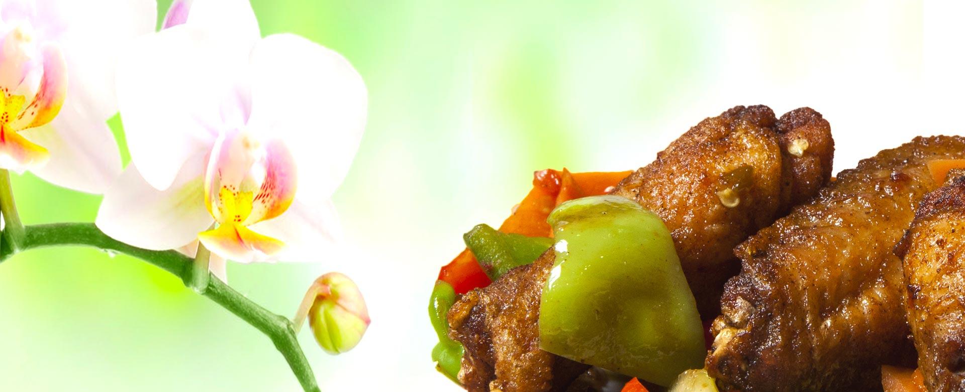 Aripioare KungFu King, un preparat de pui absolut irezistibil, deosebit de gustos, ce îmbină aroma legumelor proaspete cu măiestria bucătarilor Huan, Noa şi Shu Shu şi bineînteles nelipsitele condimente chinezeşti.