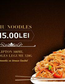 Meniul Noodles cu legume si Lipton Ice Tea 500ml, cel mai nou meniu special, marca restaurantului chinezesc KungFu-King, conţine o porţie de Noodles cu legume de 320g şi un suc Lipton Ice Tea verde de 500ml.